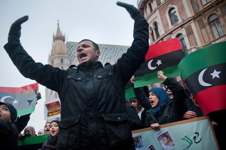 Protest against Caddafi, Vienna, Austria